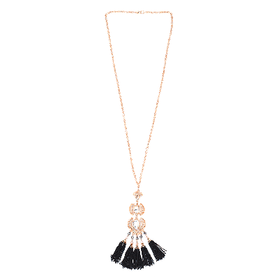 Shuffle Black Tasselled Long Necklace