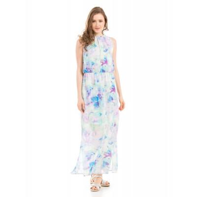 Shuffle Blue Halter Neck Maxi Dress