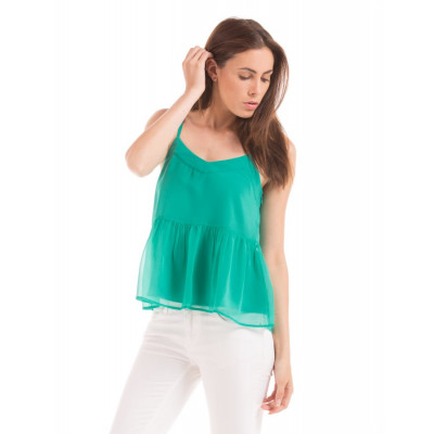 Shuffle Teal Pleated Back Cami Top