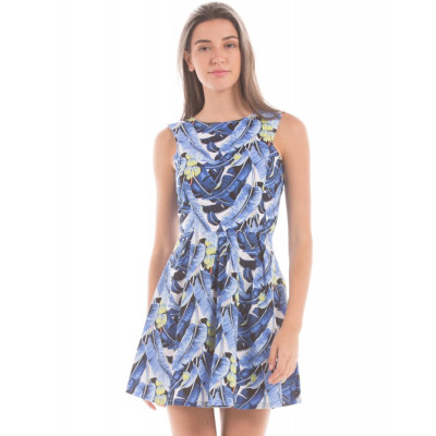 Shuffle Blue Mix Fit And Flare Dress