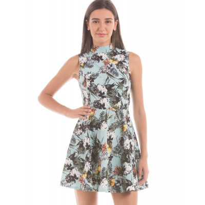 Shuffle Light Blue Tropical Print Dress