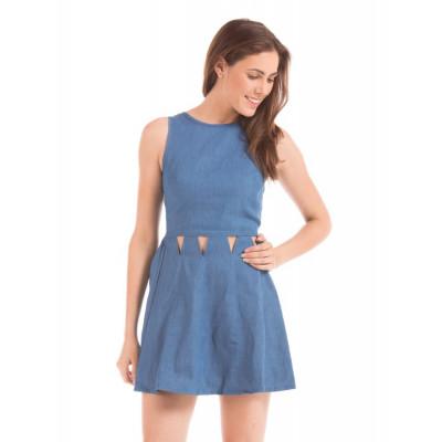 Shuffle Blue Cut-out Dress