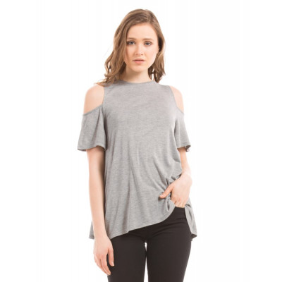 Shuffle Grey Cold Shoulder Tee