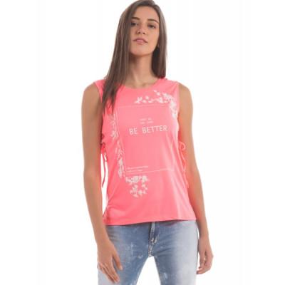 Shuffle Neon Pink Beach Tank Top