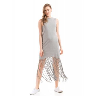 Shuffle Grey Fringe Hem Dress