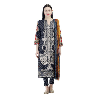 Uptown Galeria Black Printed Pakistani Lawn Dress Material