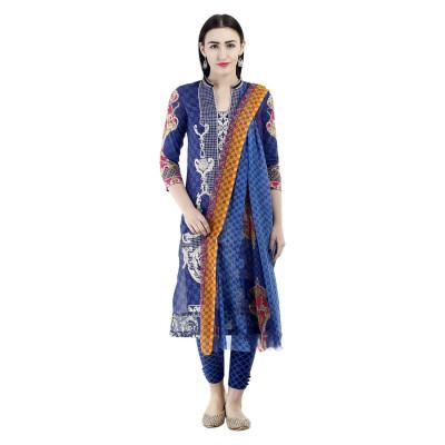 Uptown Galeria Blue Printed Pakistani Lawn Dress Material
