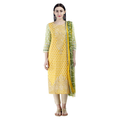 Uptown Galeria Yellow Printed Pakistani Lawn Dress Material