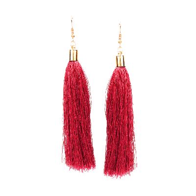 Rubans Dark Red Fringe Dangler Earrings