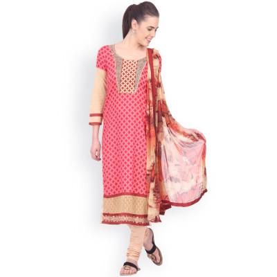 EthnicQueen Pink Geometric Print Dress Material