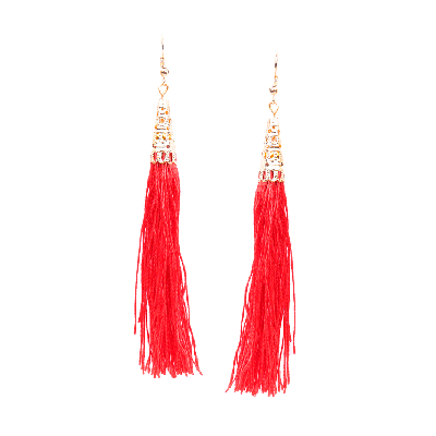 Rubans Red Fringe Dangler Earrings