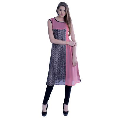 EthnicQueen Pink Abstract Print Kurti