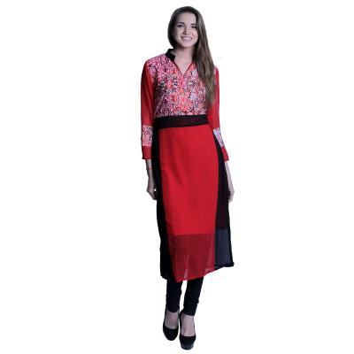 EthnicQueen Red and Black Print Kurti