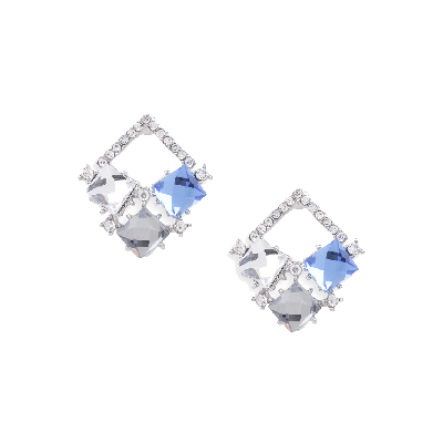 Rubans Multi-stone Geometric Stud Earrings