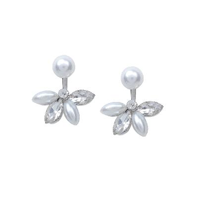 Rubans White Pearl and Stone Ear Studs
