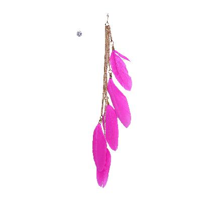 Rubans Fuchsia Feather and Stud Earrings