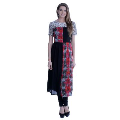 EthnicQueen Multi-colour Kurti With Lace Yoke