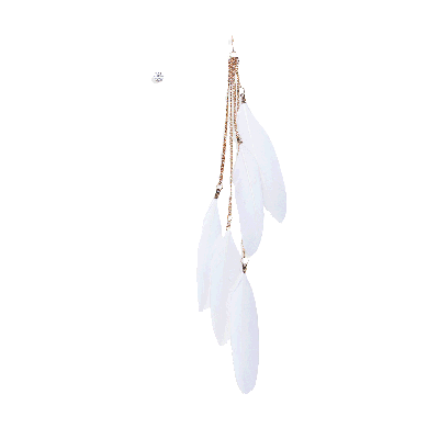 Rubans White Feather and Stud Earrings