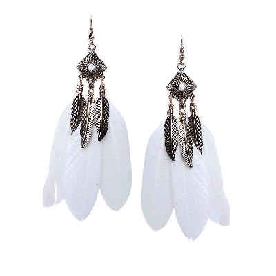 Rubans Bohemian White Feather Dangler Earrings