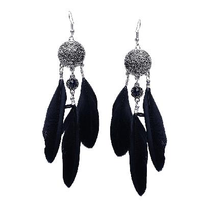 Rubans Bohemian Black Oxidized Feather Dangler Earrings