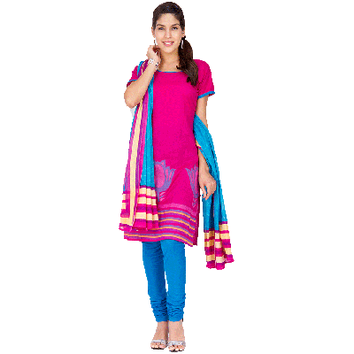 EthnicQueen Pink And Blue Lotus Print Dress Material