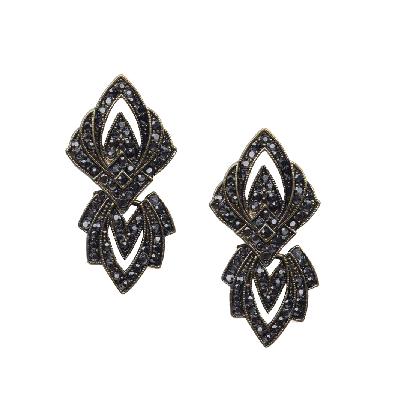 Rubans Black Geometric Oxidized Earring