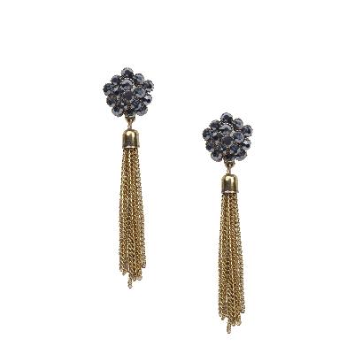 Rubans Black and Gold Floral Tassel Drop Earrings