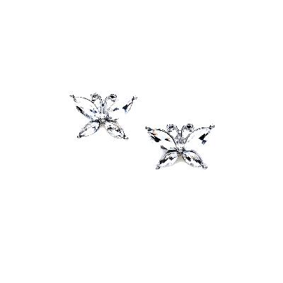 Rubans White Butterfly Ear Studs