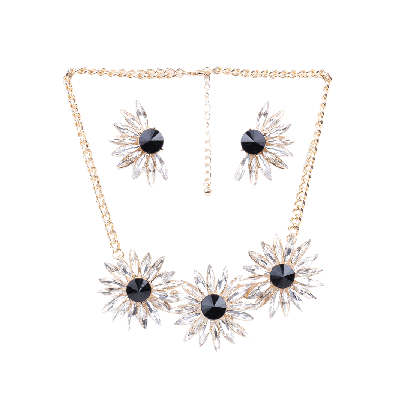 Rubans Monochrome Floret  Necklace and Earrings Set