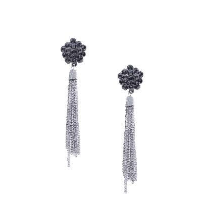Rubans Black and Silver Floral Tassel Drop Earrings