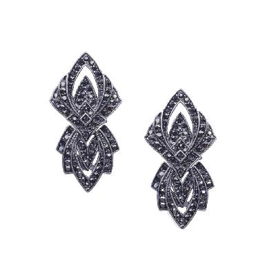 Rubans Pewter Geometric Oxidized Earring