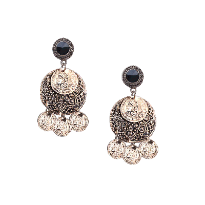Rubans Round Oxidized Drop Earrings