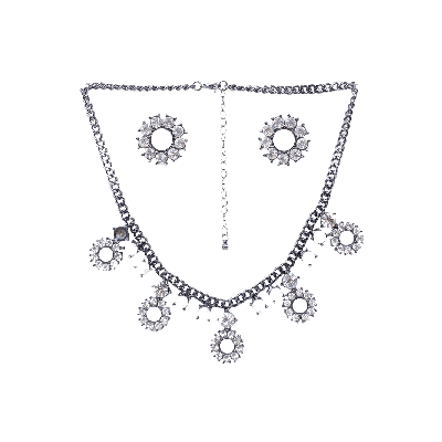 Rubans White Stone Embellished Necklace and Earrings Set
