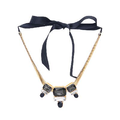 Rubans Monochrome Chunky Stone Embellished Statement Necklace