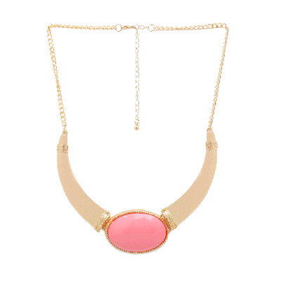 Rubans Chunky Choker Necklace with Pink Gem