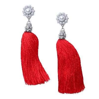 Rubans Red Fringe Drop Earrings