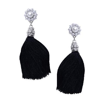 Rubans Black Fringe Drop Earrings