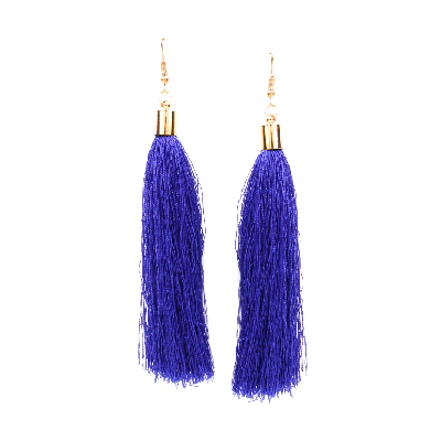Rubans Navy Blue Fringe Dangler Earrings