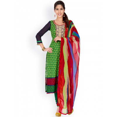 EthnicQueen Green Ethnic Print Dress Material