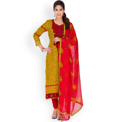 EthnicQueen Yellow Floral Print Embroidered Dress Material