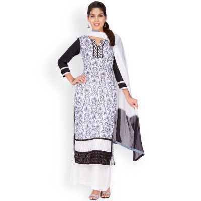 EthnicQueen Monochrome Paisley Embroidered Dress Material