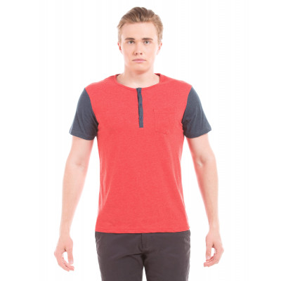 PRYM Red Colour Block Henley Tee