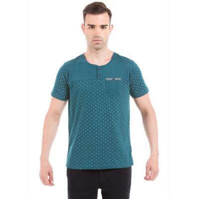 PRYM Blue Polka Dotted Henley T-shirt