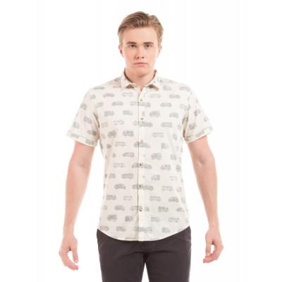 PRYM Beige Polka Print Half Sleeve Shirt