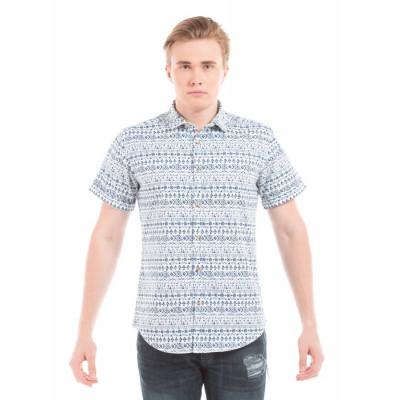 PRYM Navy Vintage Aztec Print Half Sleeve Shirt