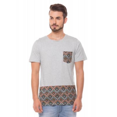 Shuffle Light Grey Aztec Print T-Shirt