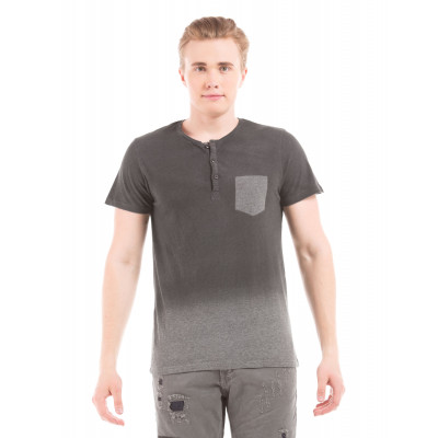 Shuffle Black Ombre Henley T-Shirt