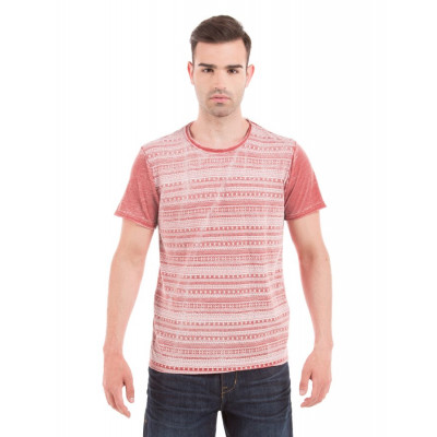 Shuffle Red Aztec Bleached T-Shirt
