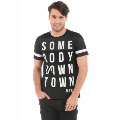 Shuffle Black High Density Print T-shirt