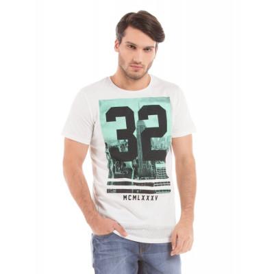Shuffle Off White High Density Print T-shirt